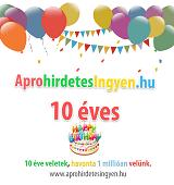 10 éves az aprohirdetesingyen.hu