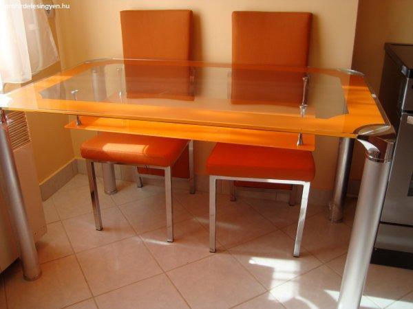 Új üveg étkezőasztal 4 db székkel vagy anélkül eladó - Eladó Új ...