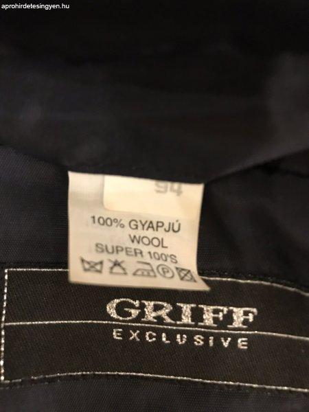 623cce866e elegáns GRIFF férfi 100 % gyapjú ÖLTÖNY sötétkék színben - Eladó ...