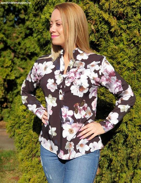 Sifon virágmintás ing-Fekete
