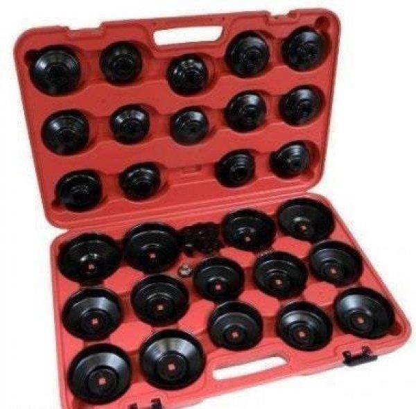 Új Olajszűrő kulcs készlet, 30db-os, olajszűrő leszedő készl