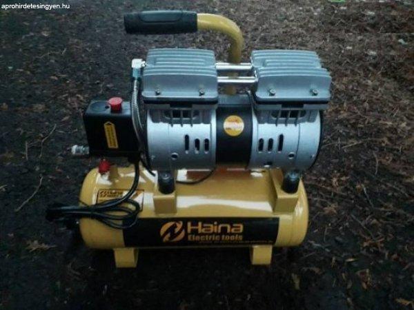 Új Haina olajmentes, csendes, száraz kompresszor 12 literes