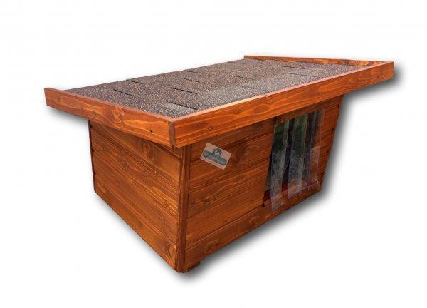 50X70 hőszigetelt kutyaház lapos tetős hőfüggönnyel