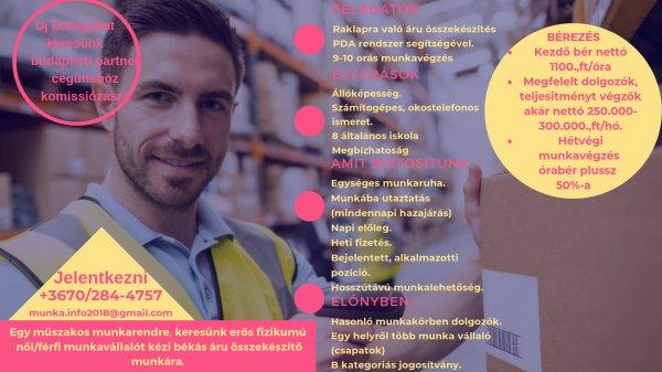 Új kollegákat keresünk budapesti munkára komissiózásra