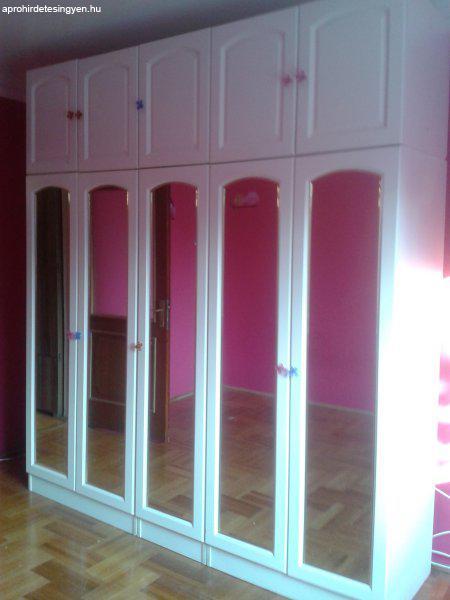 Fehér tükör ajtós hálószoba szekrény - Eladó Használt ...
