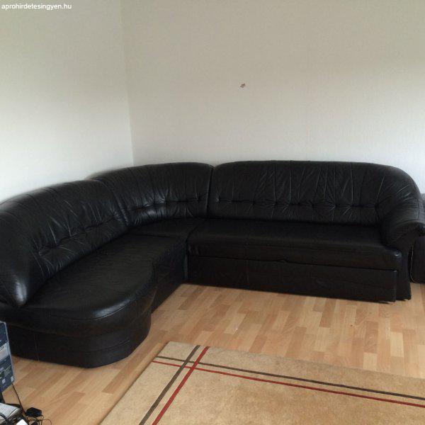 Fekete nyitható bőr kanapé sarok ülőgarnitúra - Eladó Használt ...
