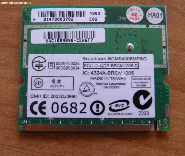 Broadcom+BCM94306MPSG+laptop+wifi+card