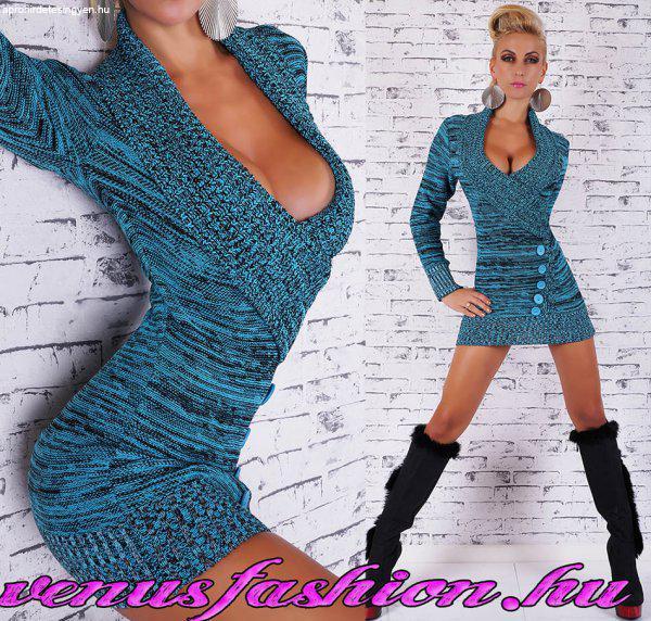 f1cb5203c Divatos kék fekete cirkás kötött átlapolt női pulóver tunika - Eladó ...