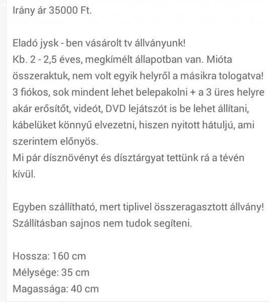 7ec95dc43c Tv állvány jysk-es márkájú - Eladó Használt - Budapest XVIII ...
