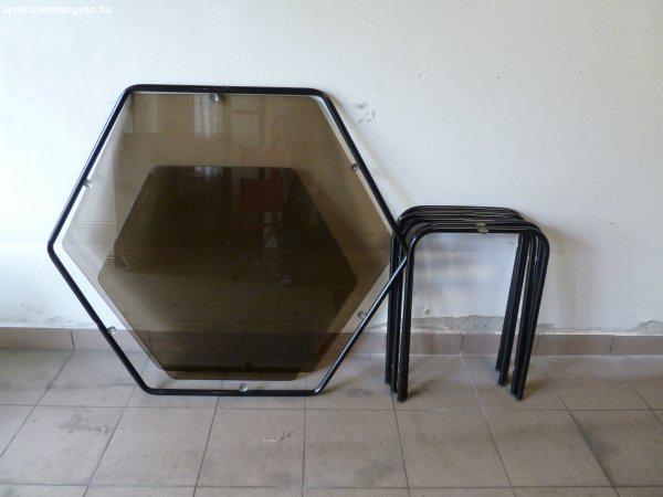 6 személyes fémvázas étkezőgarnitúra dupla üvegasztallal - Eladó ...
