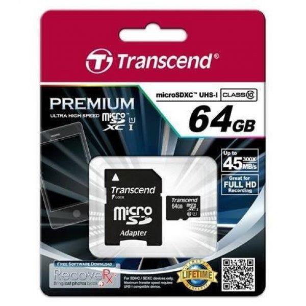 Transcend+Micro+SDXC+64GB+Class+10+UHS-I+%2Badapter+SD+mem%F3ria
