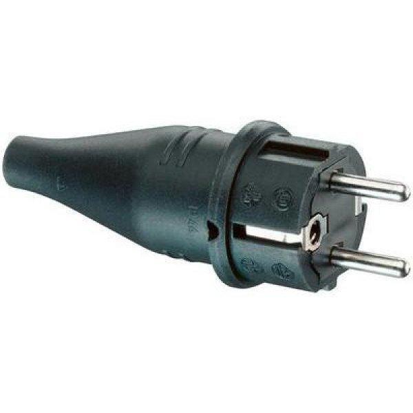 Szerelhető hálózati dugó, gumi, 230 V, fekete, IP44, ABL Sur
