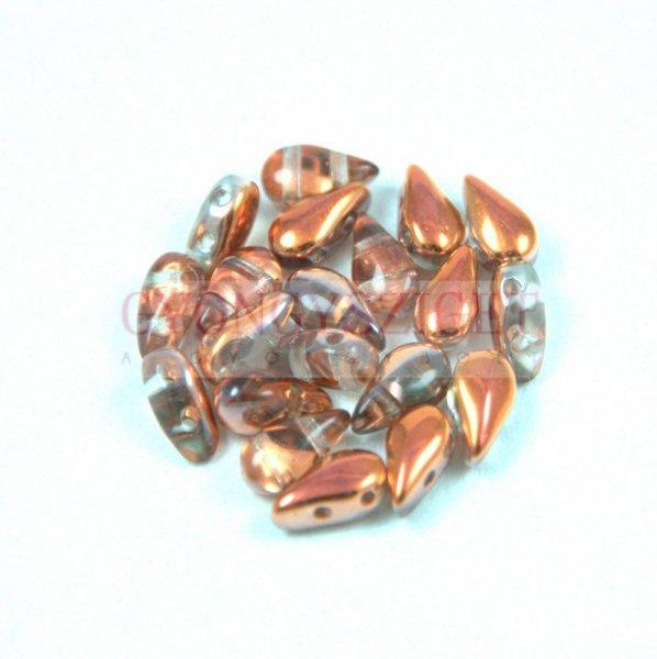 DropDuo - cseh préselt kétlyukú gyöngy - Crystal Rainbow Met