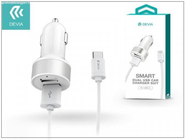 Devia Dual USB szivargyújtó töltő adapter + Type-C adatkábel