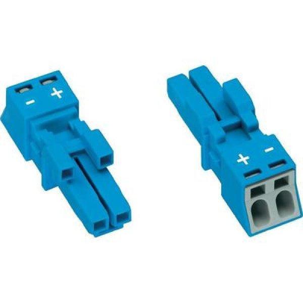 Hálózati csatlakozó alj, egyenes, pólusszám: 2, 16 A, kék WA