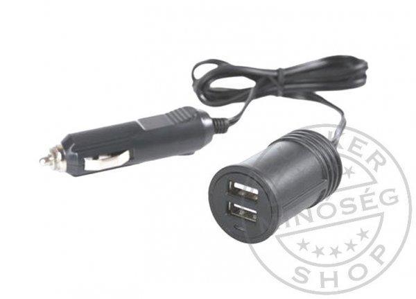 Szivargyújtó átalakító USB-re dupla vezetékes 12/24V